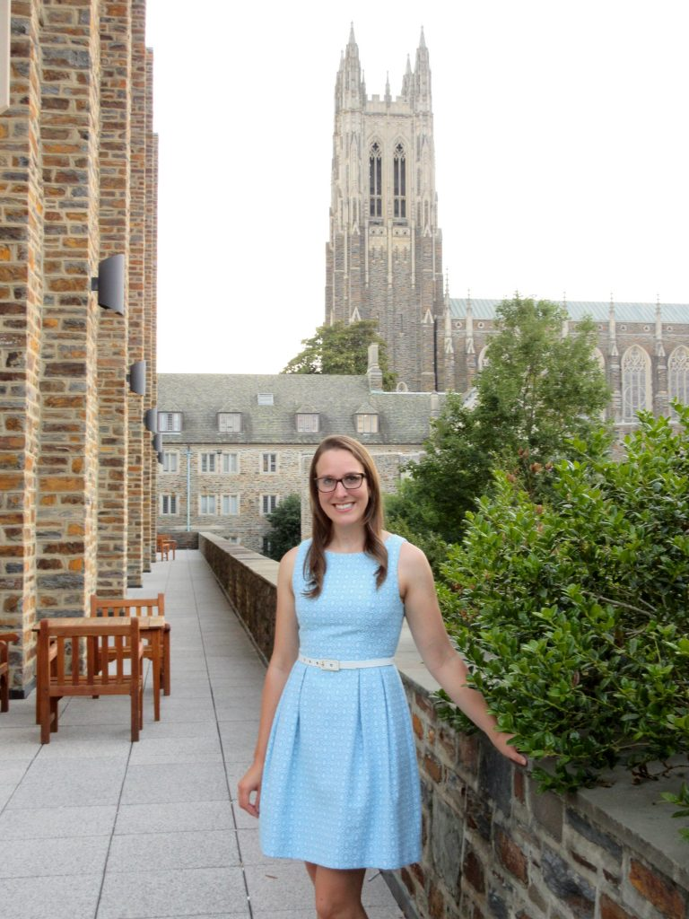 Ashley in front of Duke Chapel